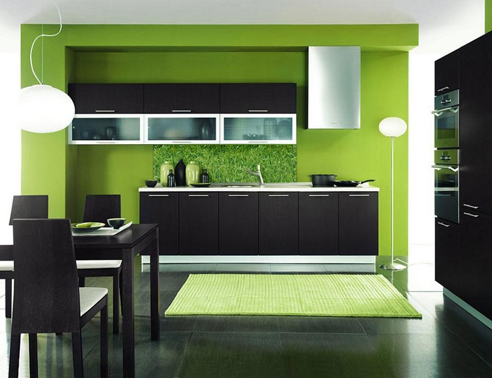 Кухня в стиле венге с зеленым цветом