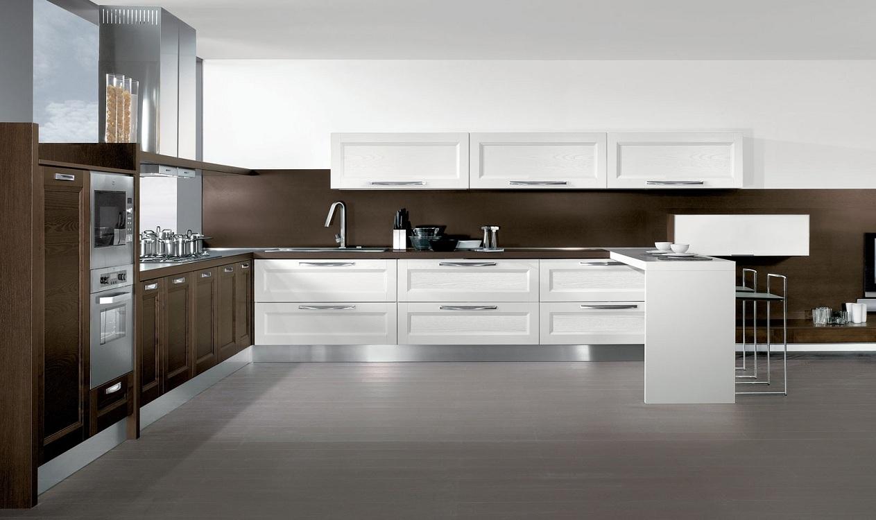 Кухня в стиле венге в сочетании с белым цветом