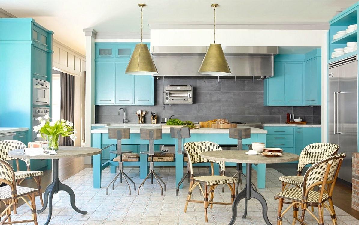 Мебель для бирюзовой кухни