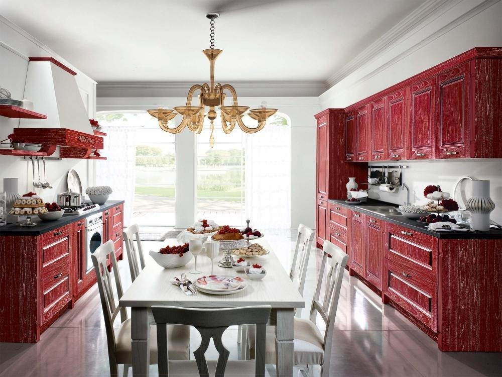 Мебель для кухни бордового цвета