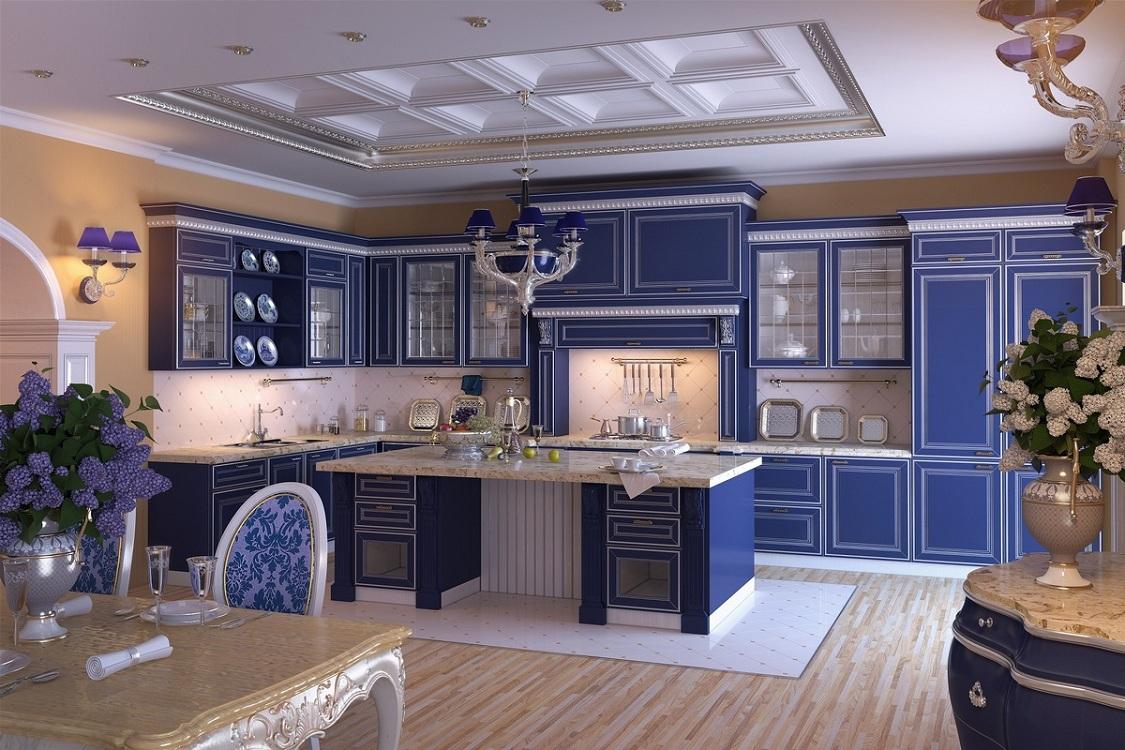 Мебель для синей кухни