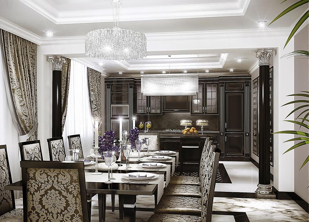Мебель на кухне в стиле арт-деко