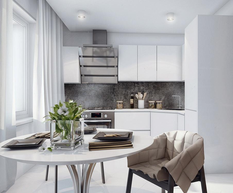 Минималистичное оформление маленькой кухни-гостиной