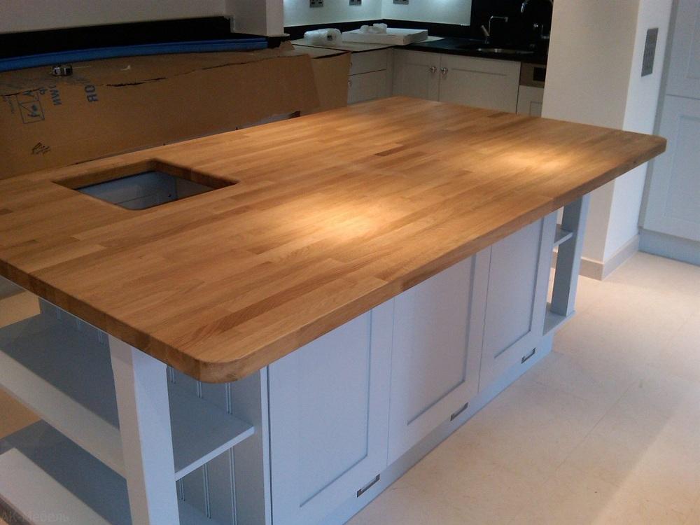 Монтаж деревянной столешницы на кухне