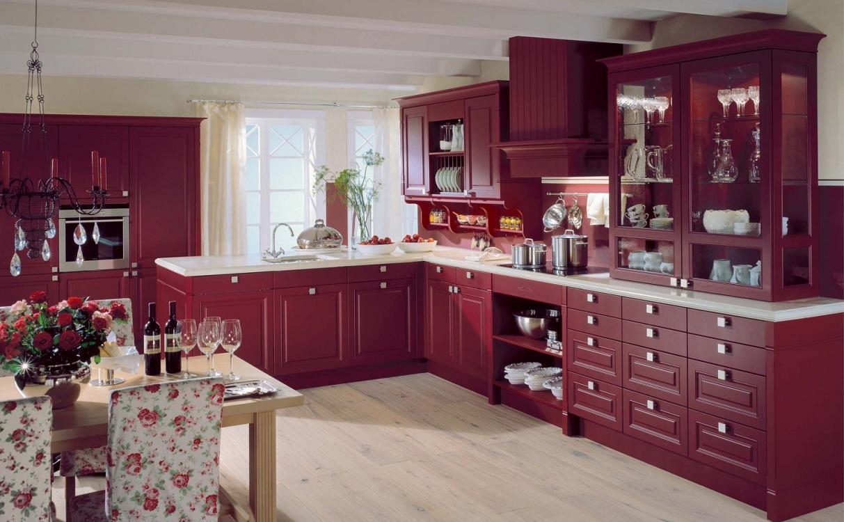 Напольное покрытие для бордовой кухни