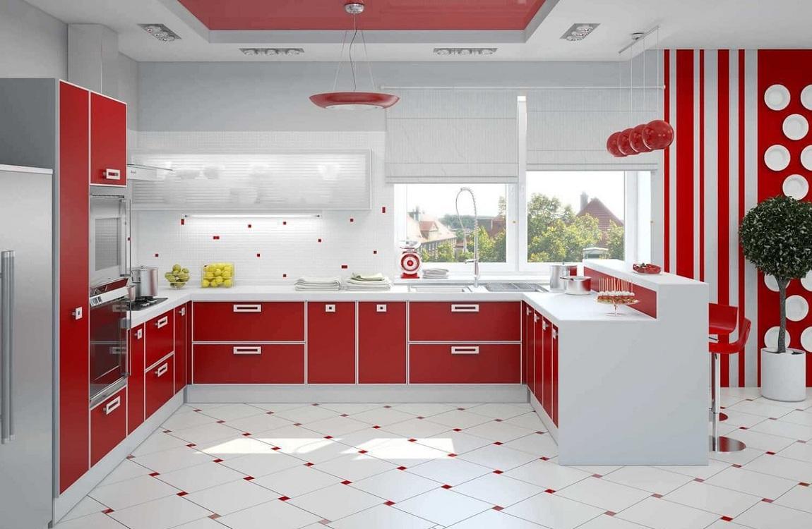 Обои для красно-белой кухни