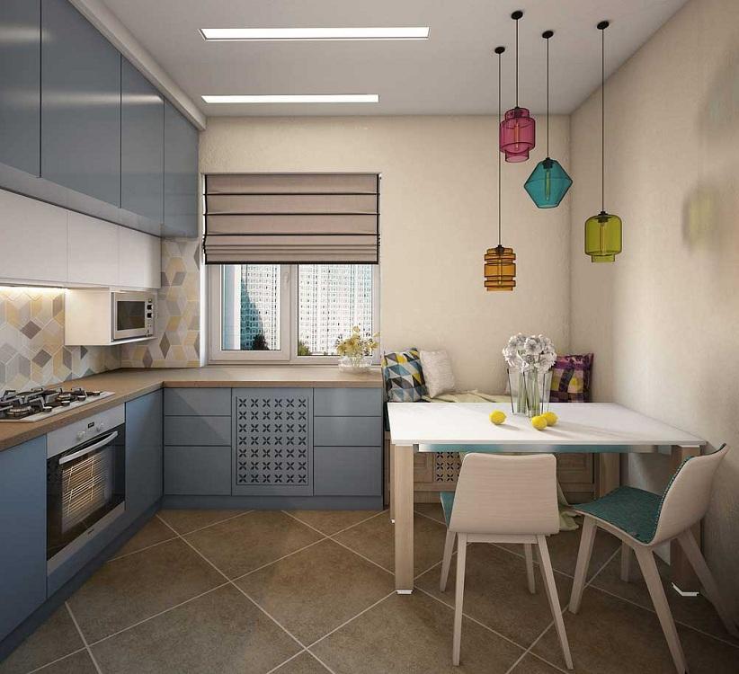 Обустройство маленькой квадратной кухни