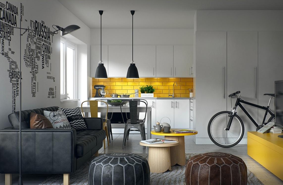 Оформление потолка на кухне в скандинавском стиле
