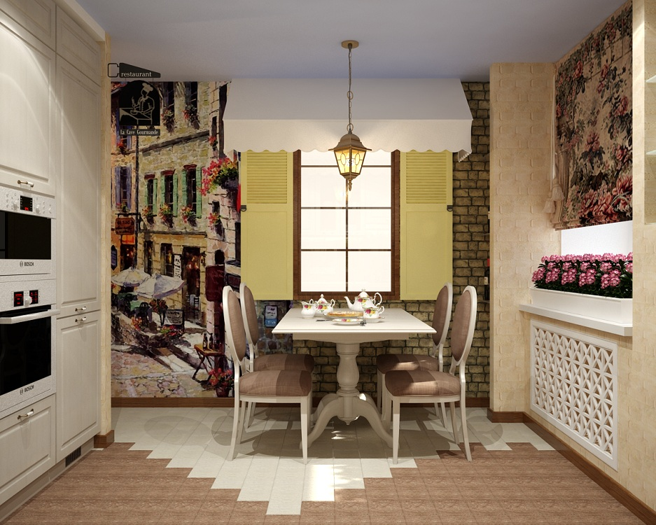 Отделка стен, потолка и пола на кухне в стиле кафе