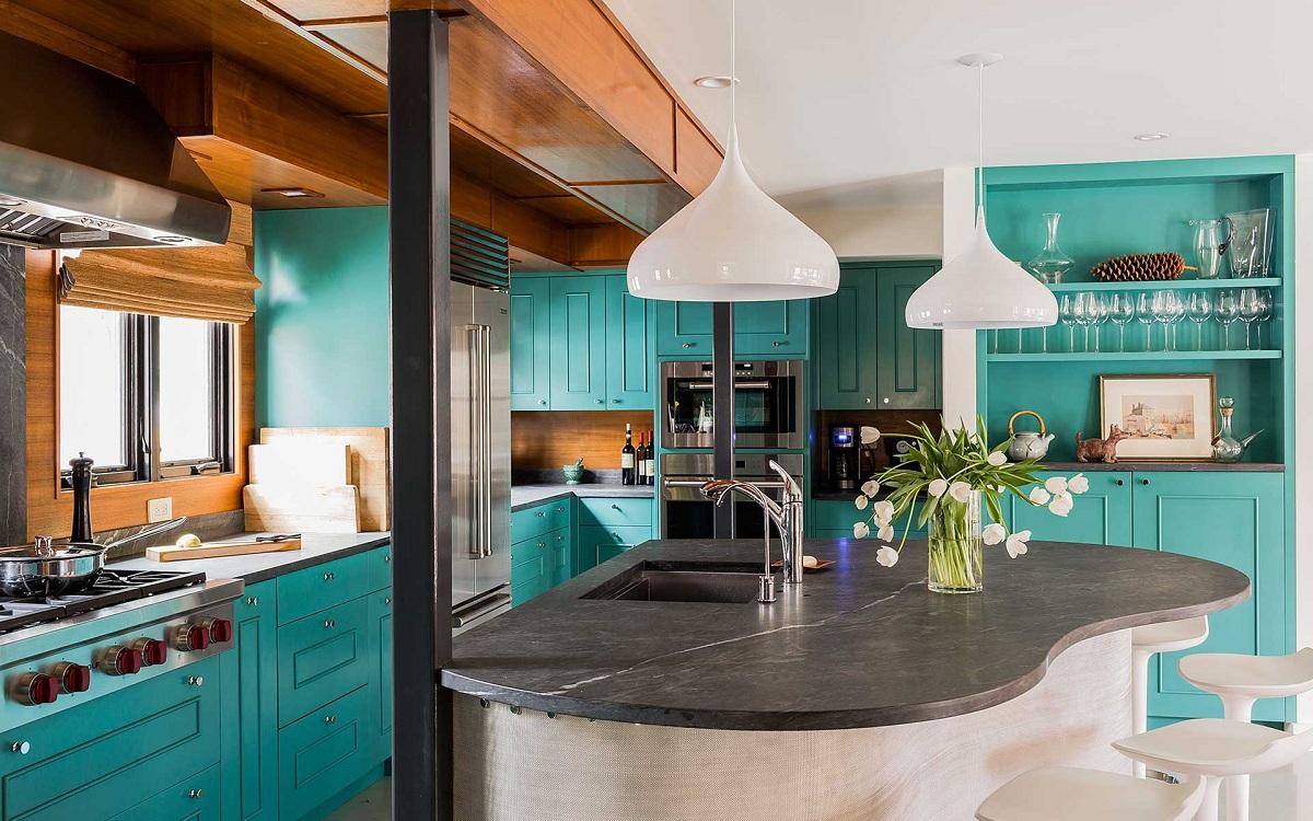 Оттенки бирюзового цвета для кухни