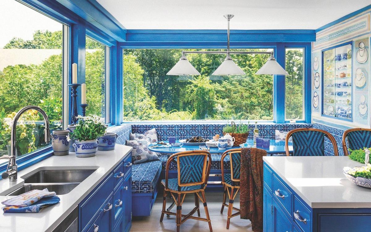 Оттенки синего в интерьере кухни
