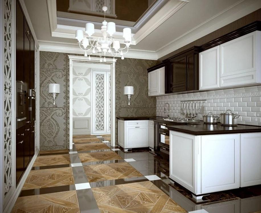 Плитка кабанчик для кухни в стиле арт-деко