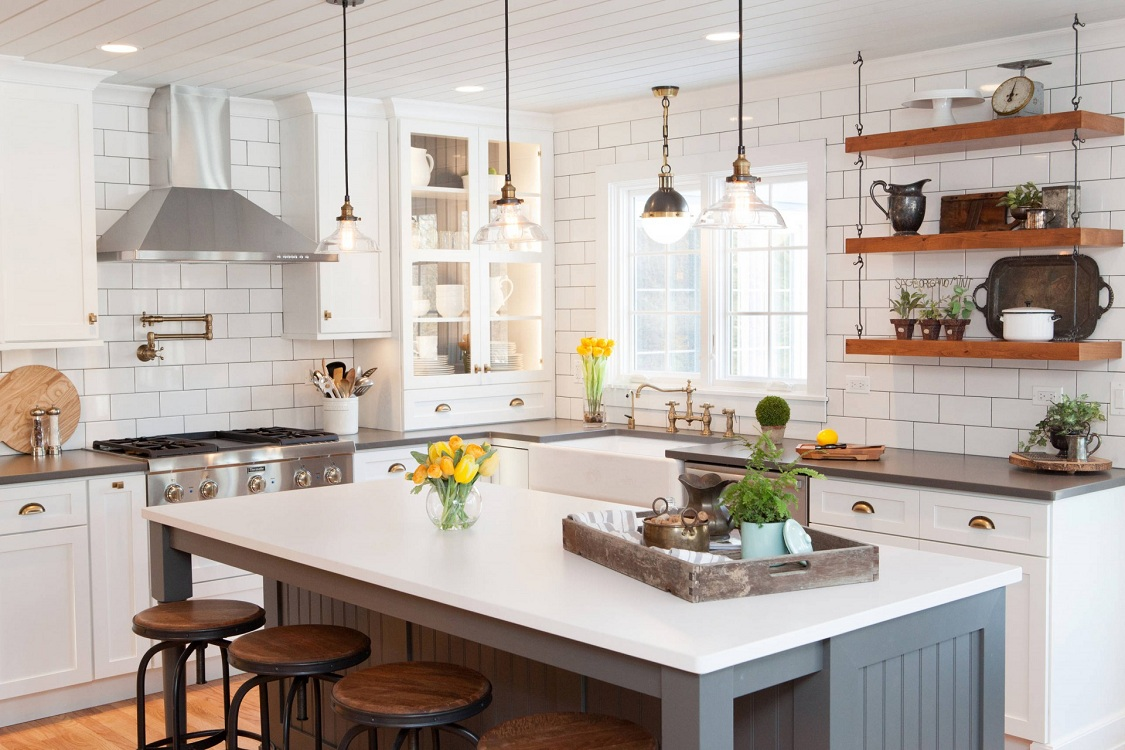 Плитка кабанчик для кухни в стиле кантри