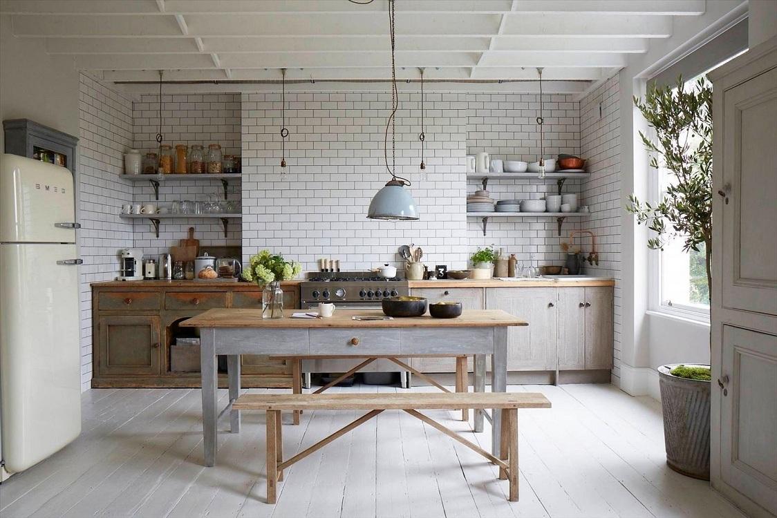 Плитка кабанчик на кухне в скандинавском стиле