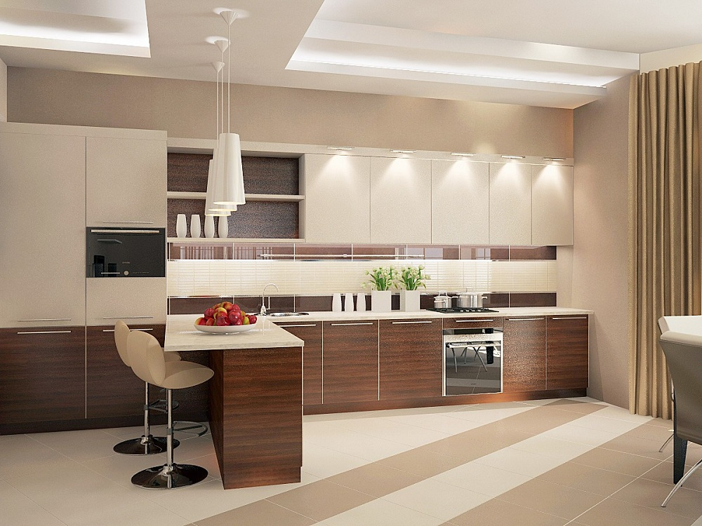 Пол и потолок для коричневой кухни