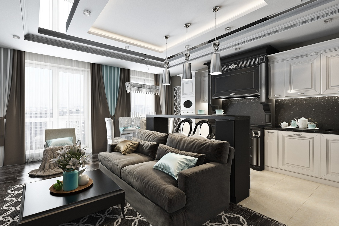 Потолок на кухне в стиле арт-деко