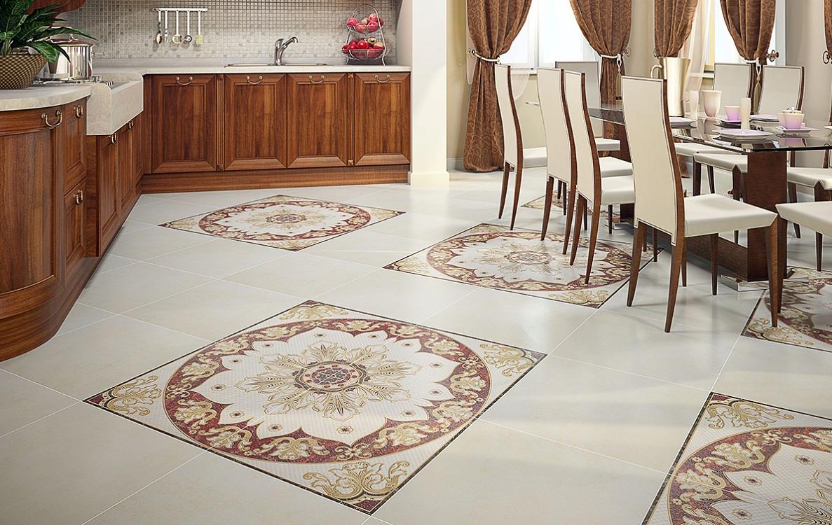 Рисунок и цвет напольной плитки для кухни