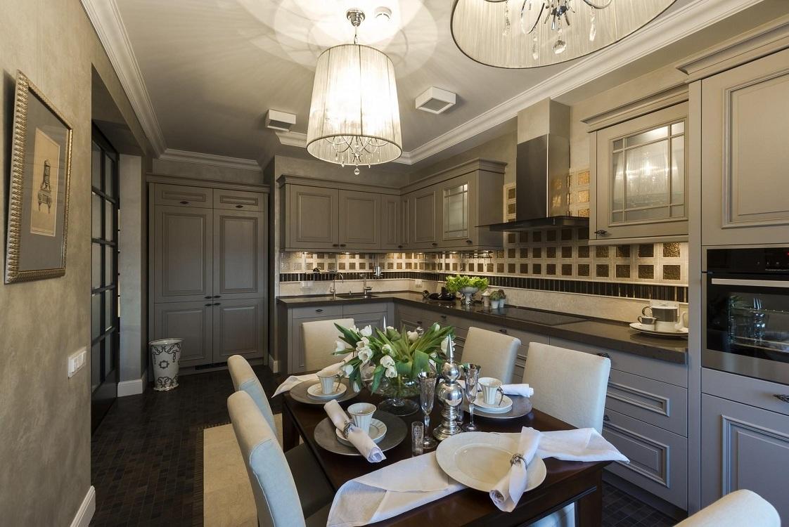 Серая кухня в стиле арт-деко