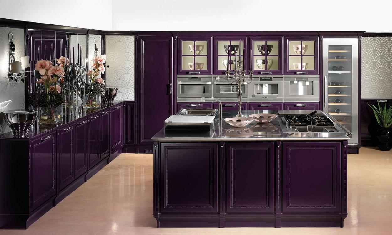 Сиреневая кухня в классическом стиле