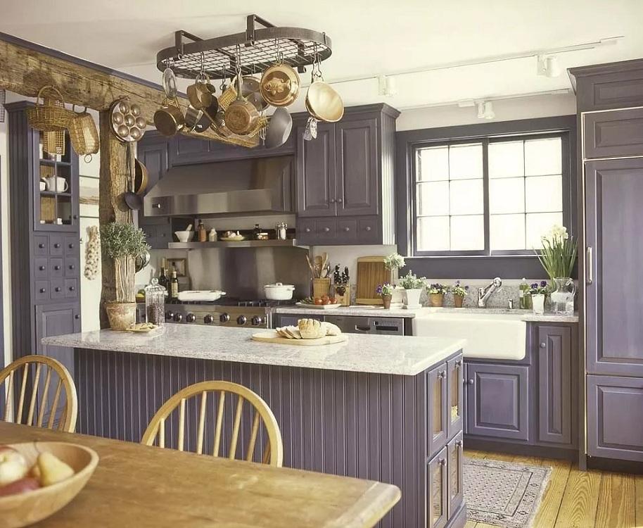 Сиреневая кухня в стиле прованс