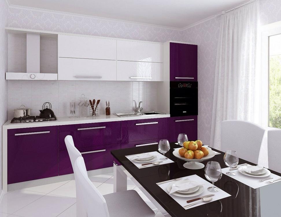 Сиренево-белая кухня