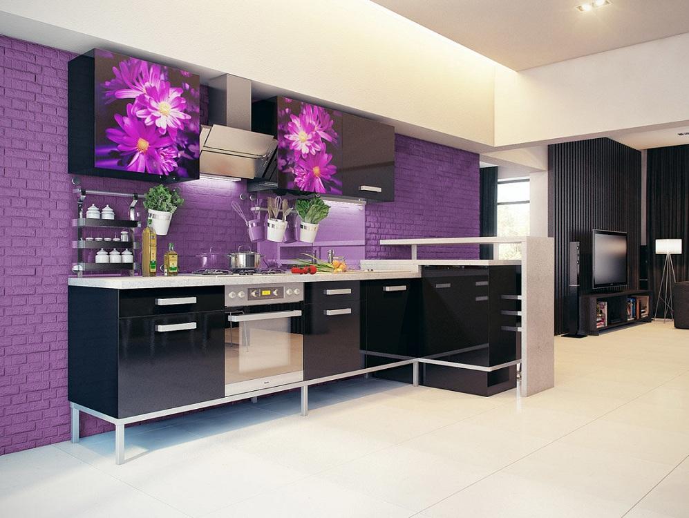 Сиренево-черная кухня
