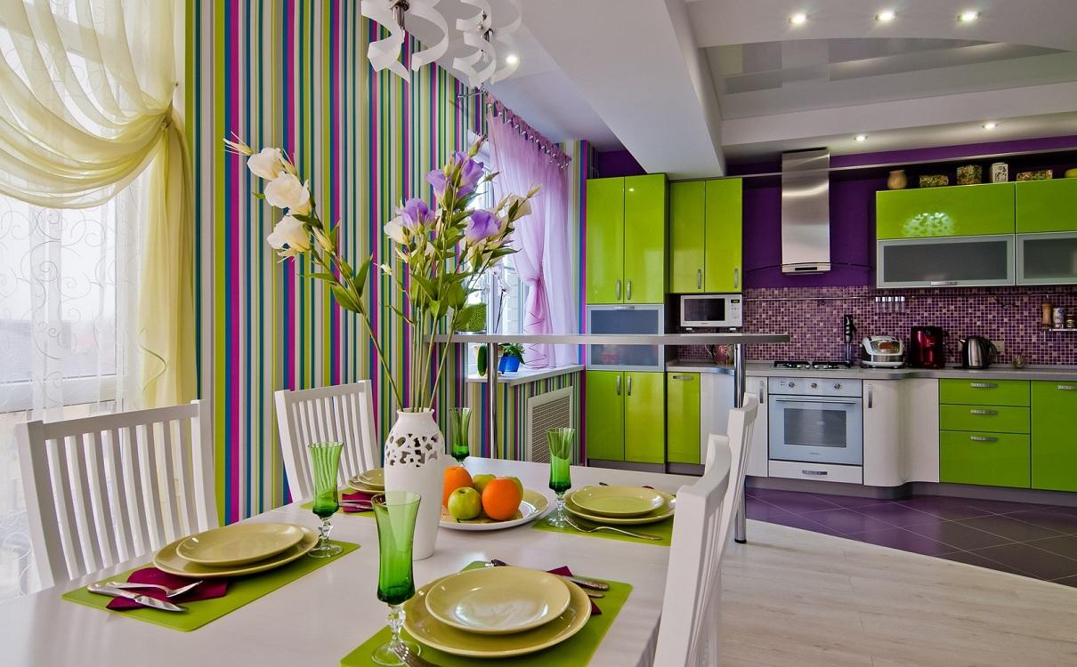 Сиренево-зеленая кухня