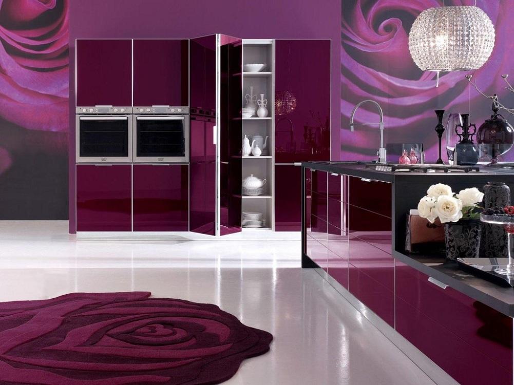 Сиреневые кухни в сочетании с розовым