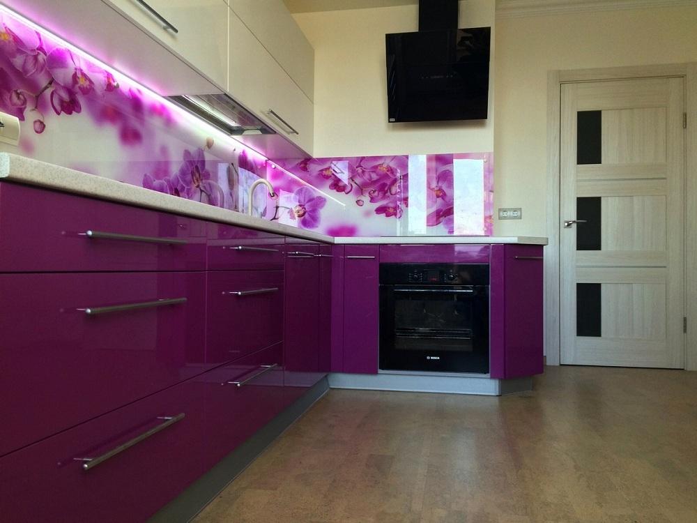 Скинали для фиолетовой кухни