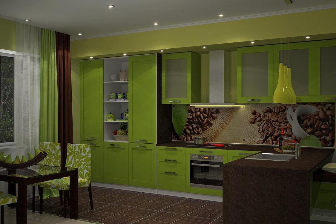 Скинали для зеленой кухни