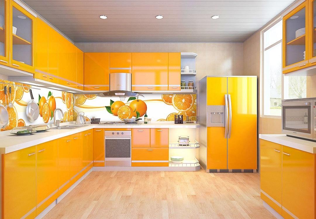 Скинали на оранжевой кухне