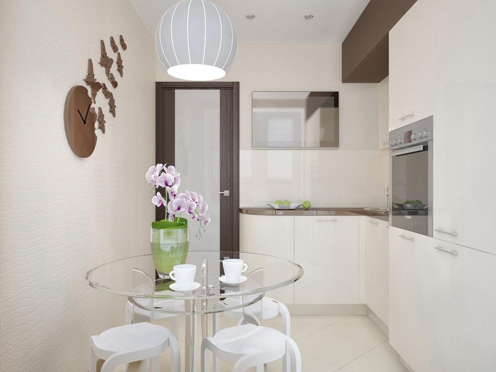 Стеклянный стол для маленькой кухни