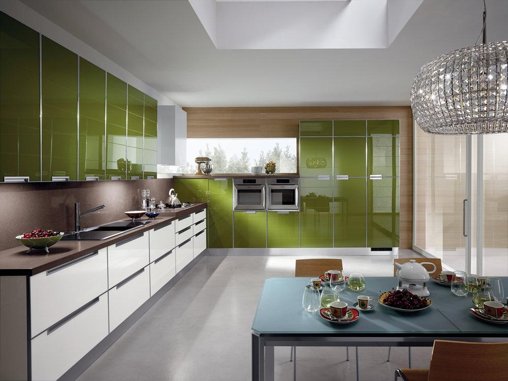 Стили кухонь в оливковом цвете
