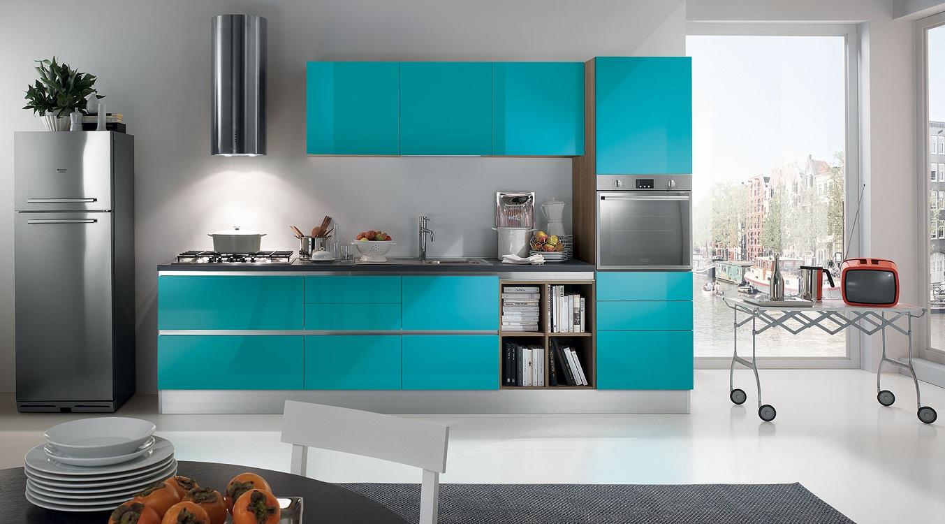 Стили кухонного помещения в бирюзовом цвете