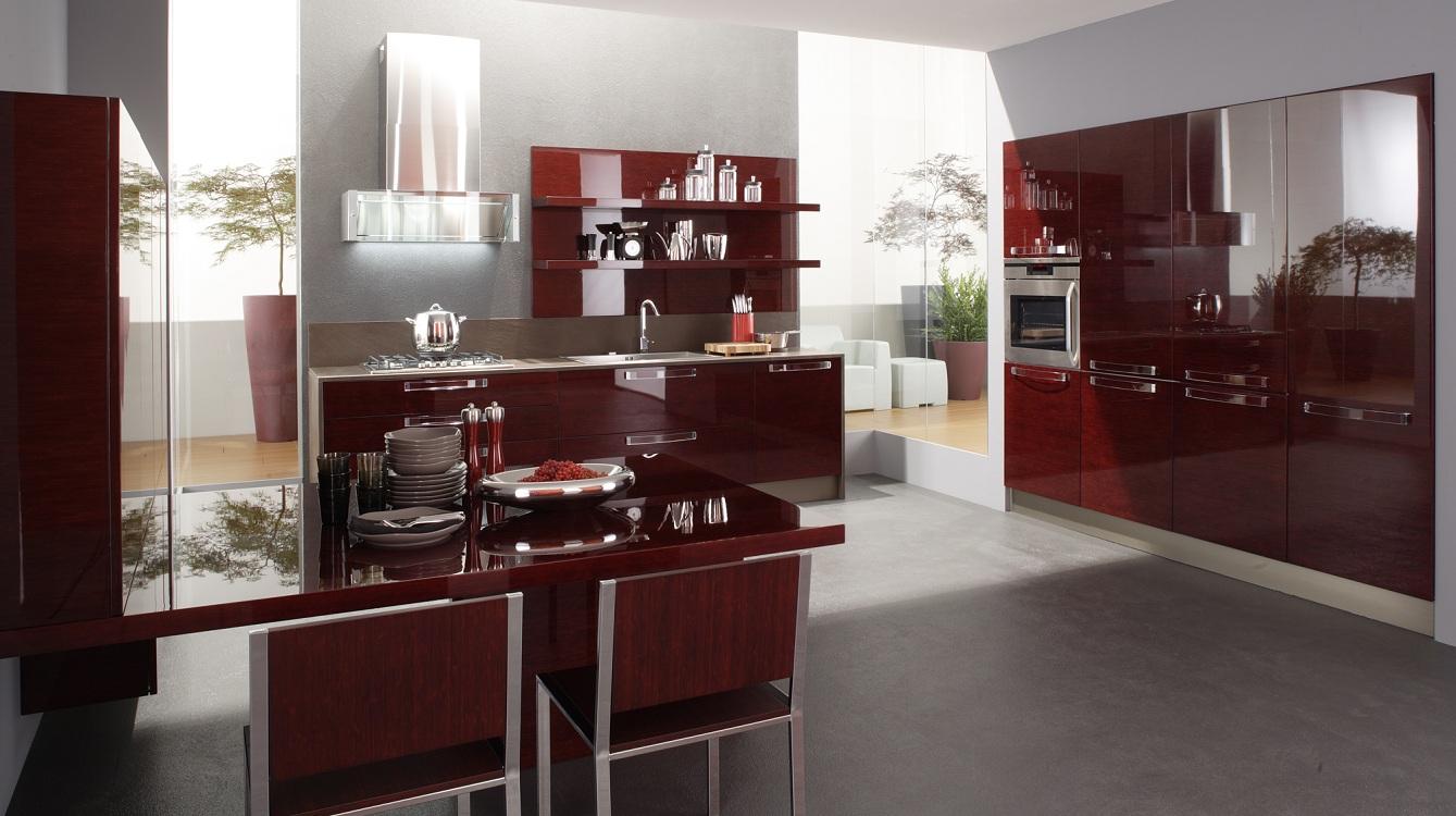 Стол для бордовой кухни