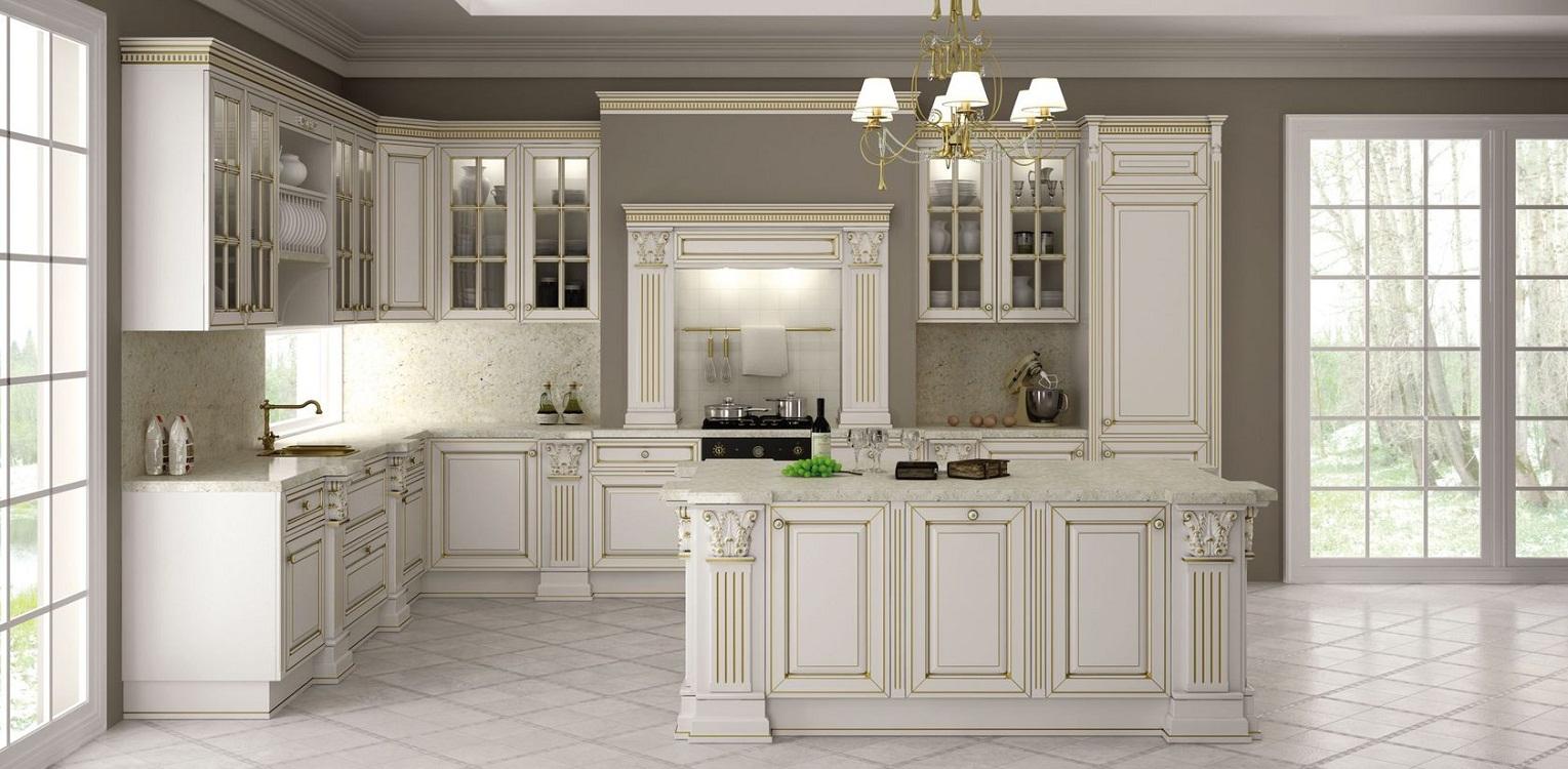 Светлые кухни в белых тонах