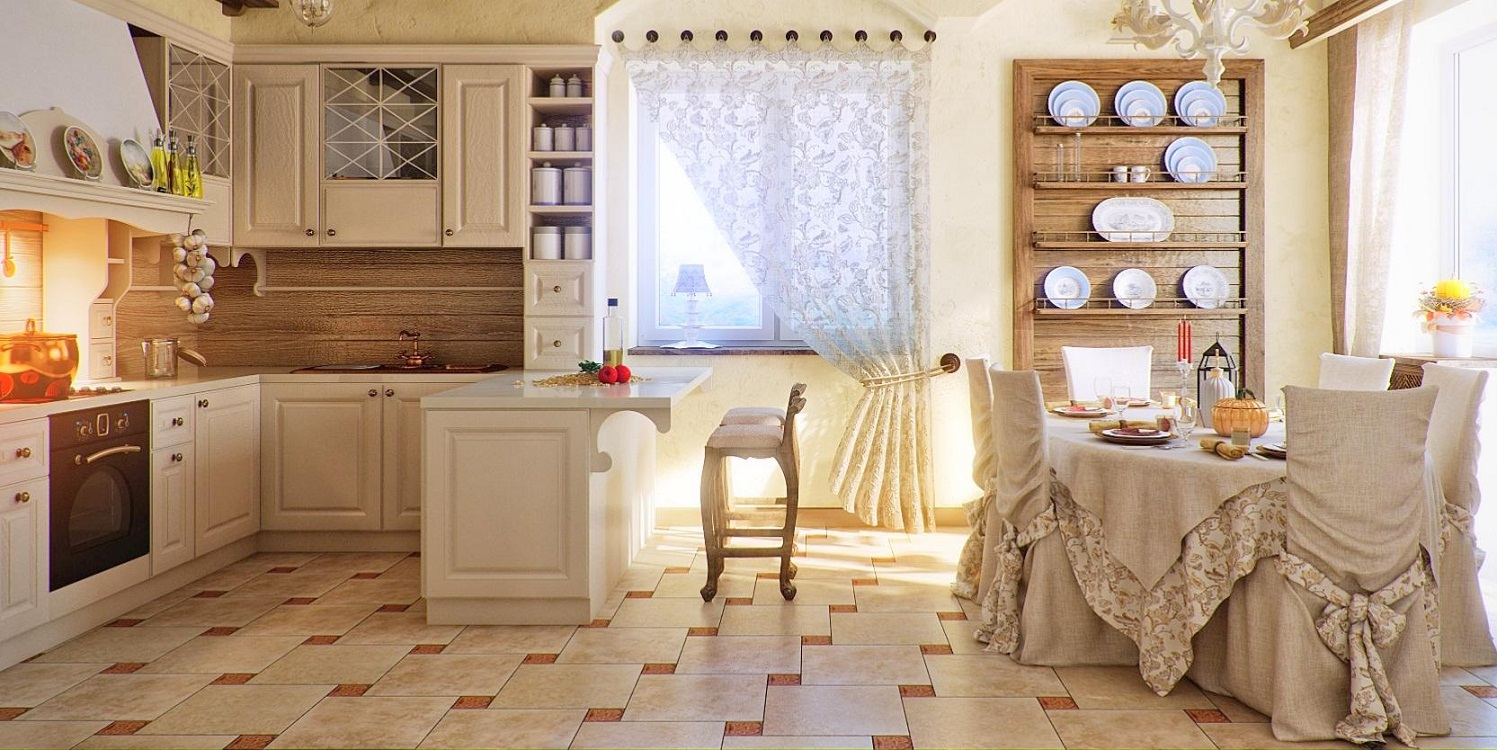 Текстиль на кухне в итальянском стиле