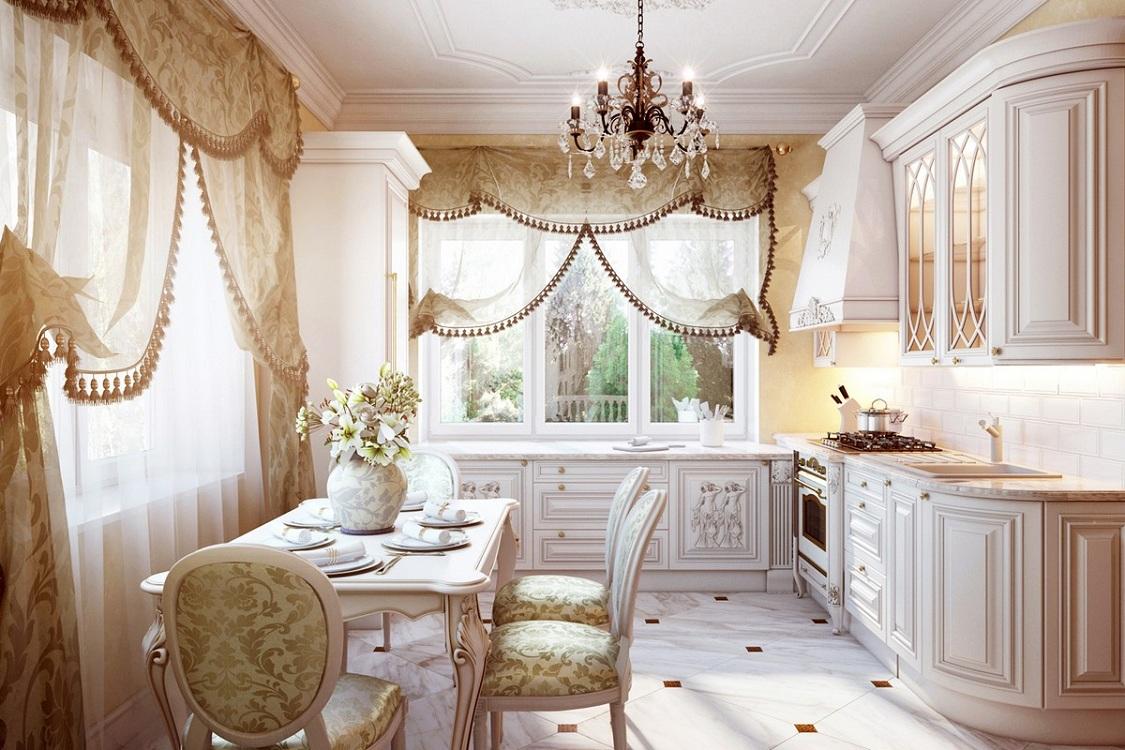 Тюль для кухни в стиле барокко