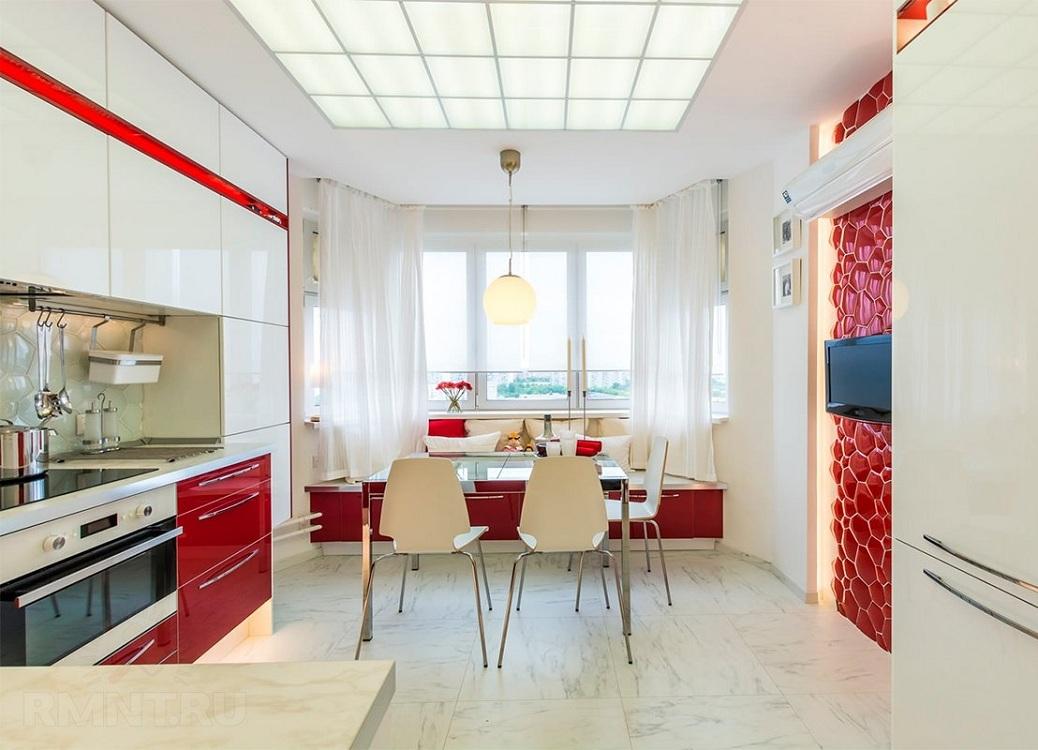 Угловая кухня красно-белого цвета