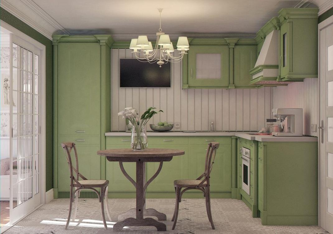 Угловая оливковая кухня