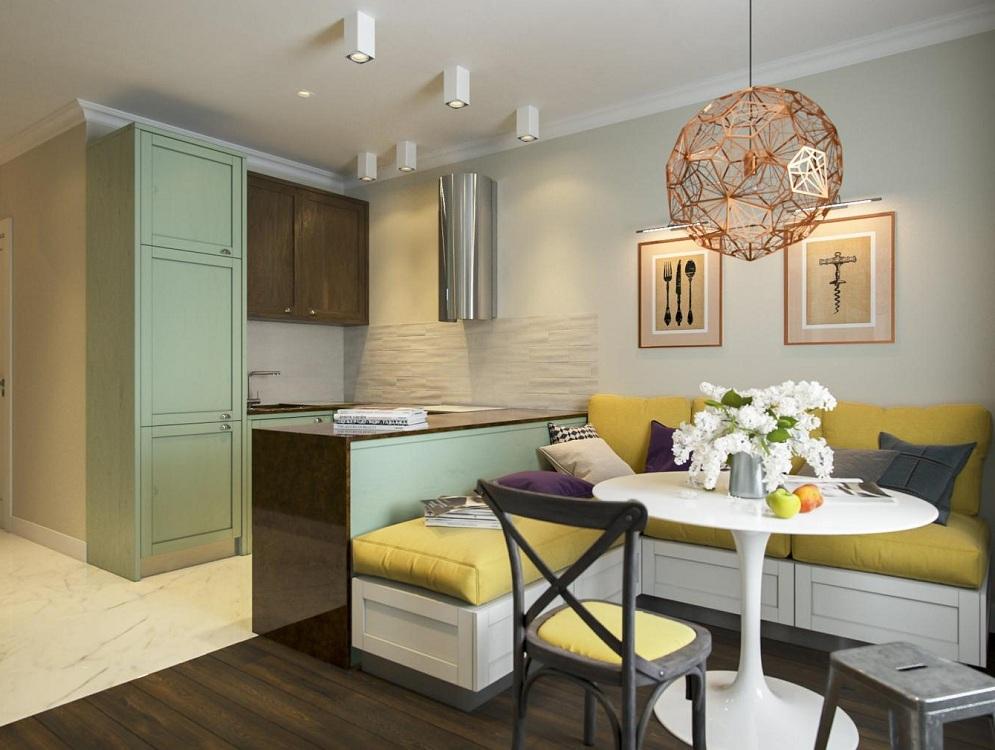 Условное зонирование узкой кухни
