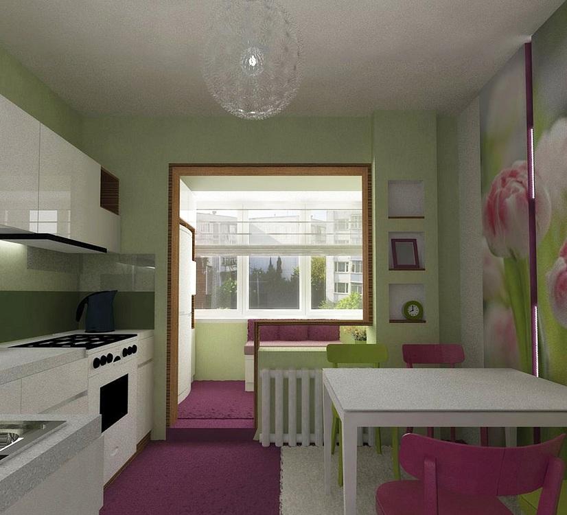 Увеличение пространства кухни в брежневке