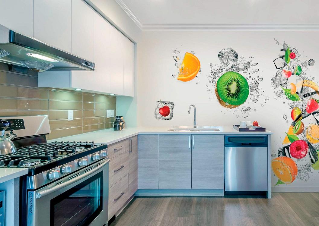 Виды фотообоев на кухне