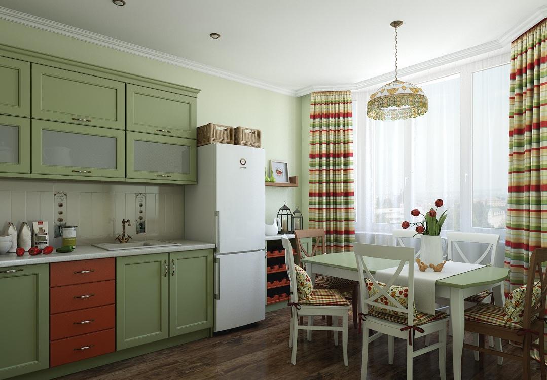 Зеленая кухня в скандинавском стиле