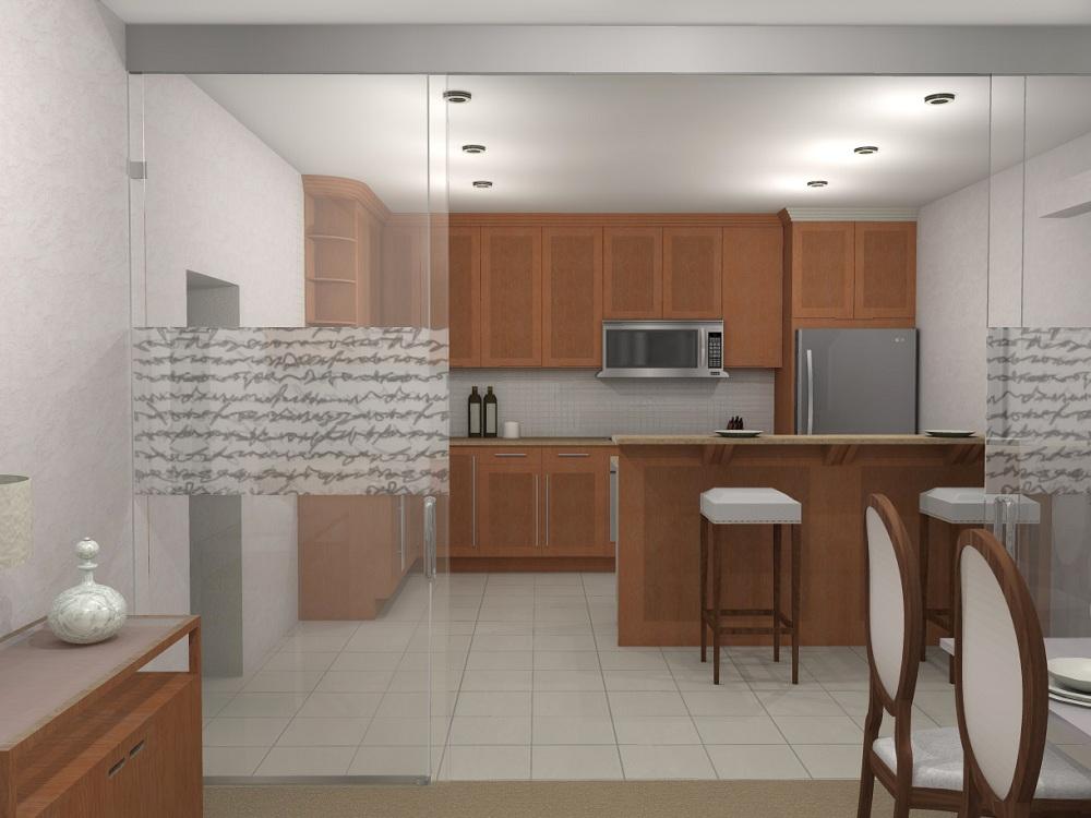Зонирование кухни и гостиной перегородкой