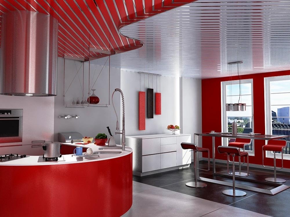 Алюминиевый реечный потолок для кухни