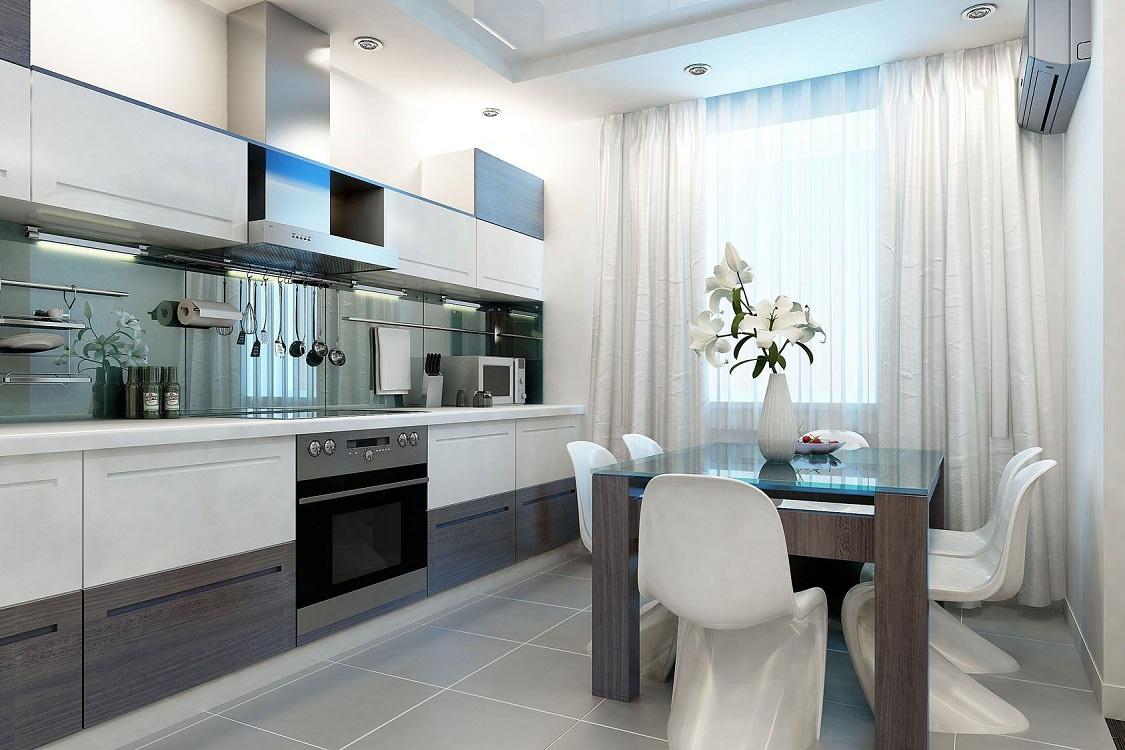 Белая кухня 14 метров