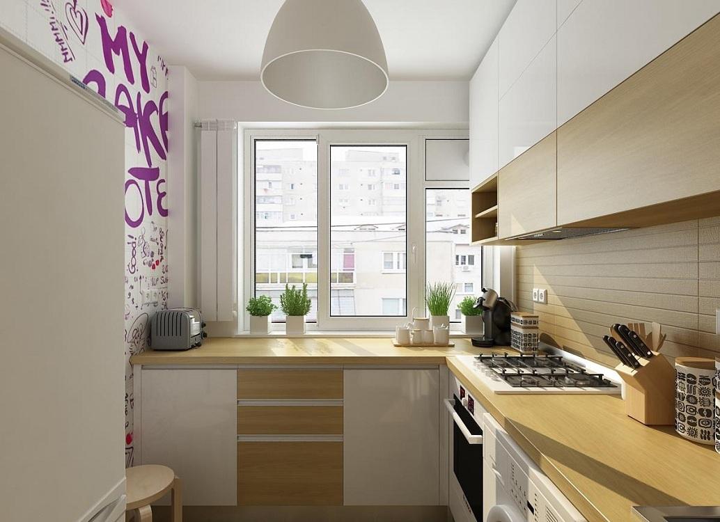 Бежевая кухня 6 метров
