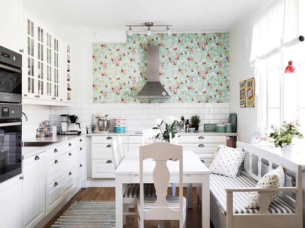 Бумажные обои для маленькой кухни