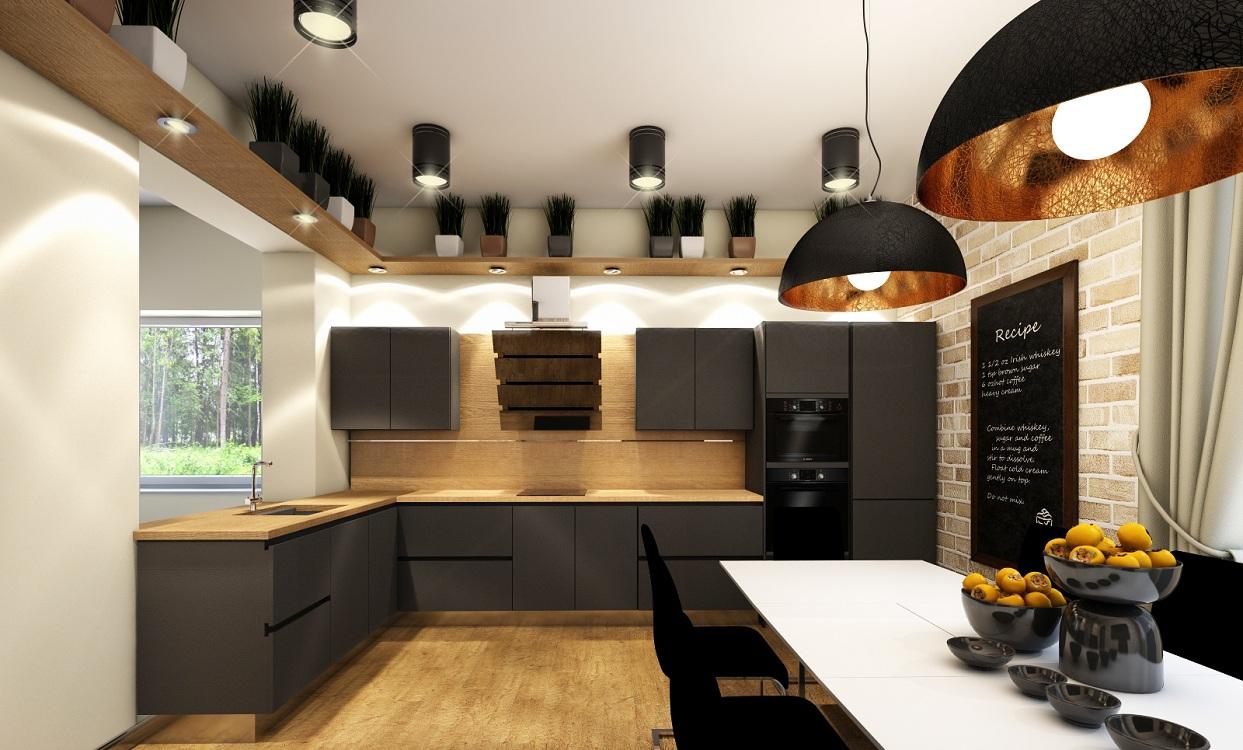 Черная кухня 14 метров